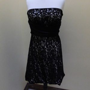 WHBM strapless black lace dress size 8